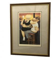 "Beryl Cook, ""Two on A Stool,"" signed lithograph"