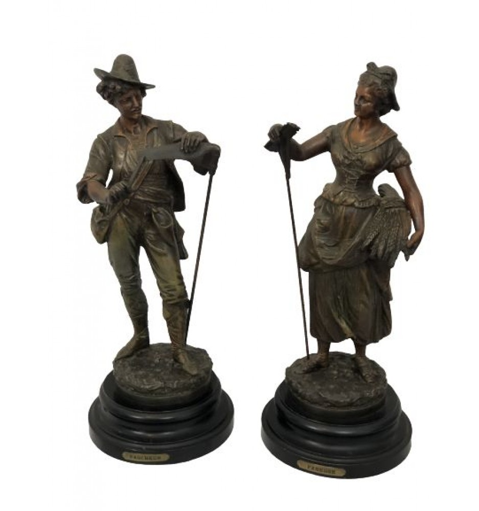 """Faneuse"" and ""Faucheur"" 19th Century Sculptures"