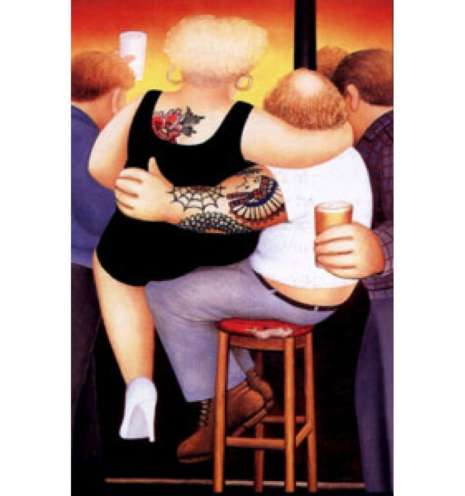 """Beryl Cook, """"Two on A Stool,"""" signed lithograph"""